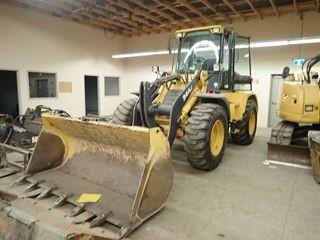 "2012 John Deere 344J Wheel Loader. John Deere 4045HT Diesel Engine, 17.5-25 Tires, Plumbed w/ Q/A, 93"" Digging Bucket, Forks, Showing 3,629hrs. SN 1LU344JXTZB030552"