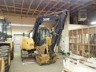 """2012 John Deere 75D Midi Hydraulic Excavator. Isuzu 4LE2X Diesel Engine, 17"""" Track Shoes, Plumbed w/ Q/A, 90"""" Dozer Blade, 48"""" Cleanout Bucket, Hydraulic Thumb. Showing 4,732hrs. SN 1FF075DXPCG014620."""