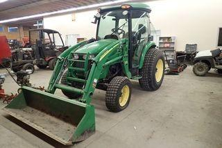 2010 John Deere 4320 Compact Utility Tractor. John Deere 4024T Diesel Engine, Enclosed Cab, 10-16.5 Front Tires, 17.5L24 Rear Tires, 400X Loader attachment, 3-pt hitch w/ PTO, Showing 1,705hrs. SN LV4320H620082.
