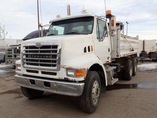 2007 Sterling L7500 Tandem Axle Gravel Truck. Mercedes Benz OM460LA 450hp Diesel Engine, Allison Automatic Transmission, Spring Suspension, 315/80R22.5 Front Tires, 14,600lbs Front Axle, 11R22.5 Rear Tires, 20,000lbs Rear Axles, Chelsea PTO, Steel 15' rear dump box, Power Tarp. Showing 280,868kms. CVIP Expires 03/19. VIN 2FZHATDJ77AY76425.