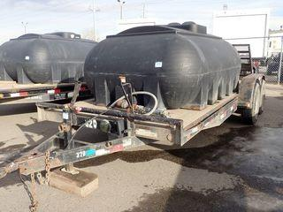 2008 Kaufman Tandem Axle Equipment Trailer. 18' Deck, 235/80R16 Tires, 7,000lbs Axles, Ball Hitch, Flip-up Ramps. CVIP Expires 04/19. VIN 1K9FB18248K141189. **NOTE: TANK SOLD SEPARATELY**