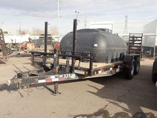 2011 Lamar Tandem Axle Equipment Trailer. 18' Deck, 235/80R16 Tires, 7,000lbs Axles, Ball Hitch, Flip-up Ramps. CVIP Expires 02/19. VIN 5RVCH1822BM007339. **NOTE: TANK SOLD SEPARATELY**