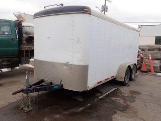 1998 Featherlite 6'x16' Enclosed Cargo Trailer. Man Door, Rear Barn Doors and Wooden Racks. VIN 4FGL01622WE505698.