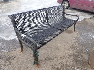 Lot of Cast Bench and 2 Cast Garbage Bins.