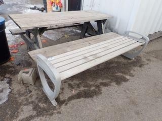Lot of Wood Bench and Picnic Table.