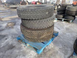 Lot of 4 Hankook 11R22.5 Tires.