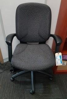 Dark Grey Upholstered Executive Swivel Arm Chair