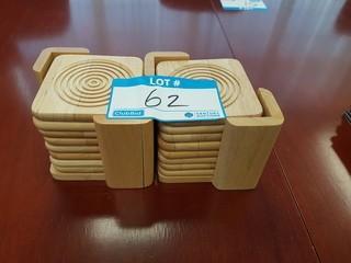 Lot of 16 Wood Coasters