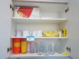 Contents of Kitchen Cabinets & Drawers (Flatware & Glassware)