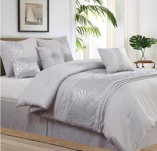 Willa Arlo Rizzuto Grey 7 Piece Comforter Set, Double