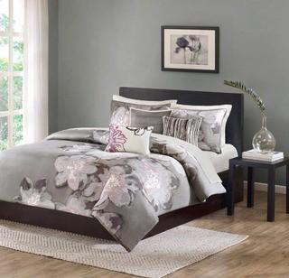 Madison Park Serena Down 200 Thread Count 6 Piece Printed Duvet Cover Set, King, Grey