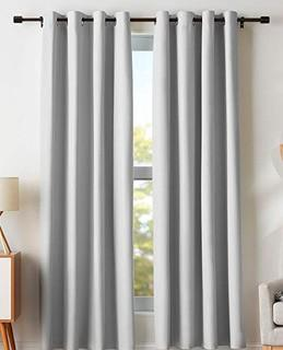 "Solid Blackout Thermal Grommet Curtain Panels, Light Grey, 52x84"", Set Of 2"