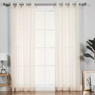 Best Home Fashion Inc. Faux Pippin Linen Solid Sheer 2 Grommet Curtain Panels-Ivory, 52x84""