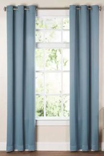 "Solid Blackout Thermal Grommet Curtain Panels, Mineral, 52x63"", Set Of 2"