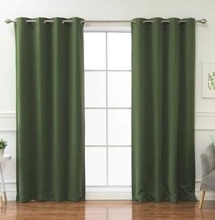"Solid Blackout Thermal Grommet Curtain Panels, Moss Green, 52x63"", Set Of 4"