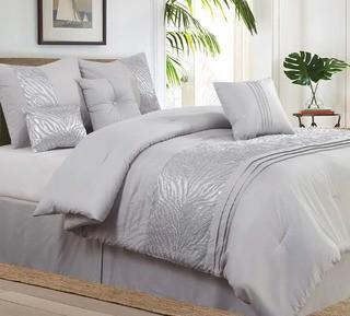 Willa Arlo Rizzuto Grey 7 Piece Comforter Set, Queen