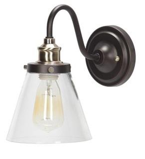 Paterson 1-Light Armed Sconce Oil Rubbed Bronze and Antique Brass