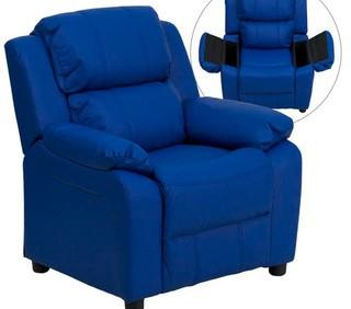 Deluxe Contemporary Personalized Kids Chair with Storage Compartment-Blue