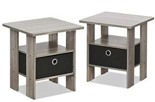 Winston Porter Coughlin End Table with Storage, Set Of 2, Oak Grey