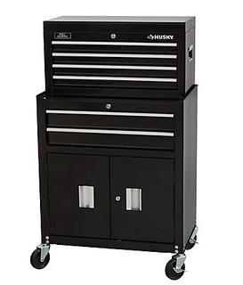 Husky 26-inch 6-Drawer Tool Chest and Cabinet Combo in Black