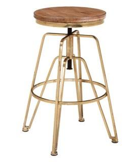 Linon Wood And Iron Accent Stool In Brown And Gold Finish AMMBRASS1AS