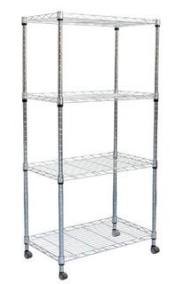 Mind Reader MET4TWHEEL-SIL 4 Tier Metal Storage Rack Shelving Unit with Wheels, Silver