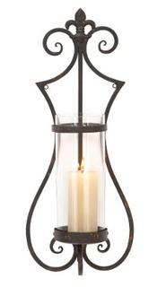 Litton Lane 25 in. Black Iron Fleur de Lis Wall Sconce