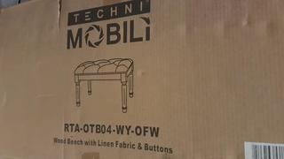 Techni Mobili - Wood Bench with Linen Fabric & Buttons - RTA-OTB04-WY-OFW?