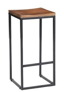 "Kosas Home PL12903 Davie Barstool, 30"", Hand-Distressed Natural ?Finish with Black Base"