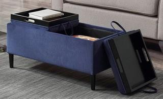 Convenience Concepts 143042BE Designs4Comfort Storage Ottoman Blue