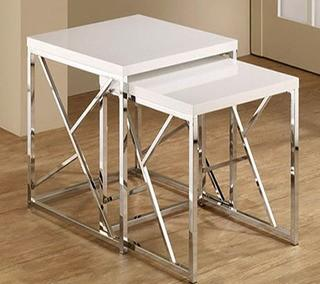 Dripping Springs 2 Piece Nesting Tables, White