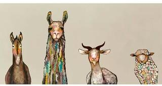 Donkey, Llama, Goat, Sheep' Acrylic Painting Print on Canvas in Cream 36x18""