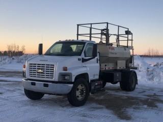 "2003 Chevrolet C7500 S/A Hydro Seeding Truck. CAT 3126, 6 SPD, FINN T129 Hydro Seeder, FINN 4"" to 2"" PUMP With 4 CLY. Diesel, 204"" W/B. VIN# 1GBJ7J1C03F512393"