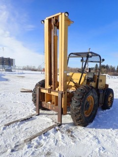 """CARE T60-14, 6,000LB RT Forklift With 4CYL. Diesel, 46"""" Forks, Canopy. S/N 780T6014 AUCTIONEERS NOTE"""
