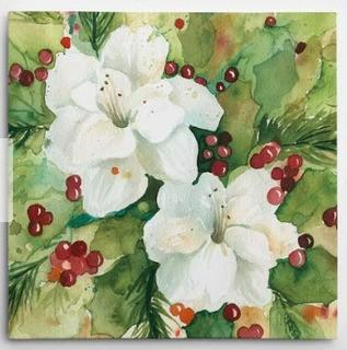 Watercolor Holly' Painting Print on Wrapped Canvas 24x24""