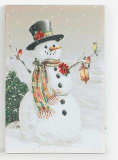 Country Snowman' Print on Wrapped Canvas with LED Lights 24x17""