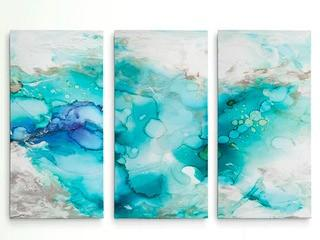 Teal Marble' Acrylic Painting Print Multi-Piece Image on Wrapped Canvas 34x48""