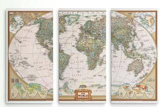 A Premium 'National Geographic World Map' Graphic Art Multi-Piece Image on Canvas 48x32""