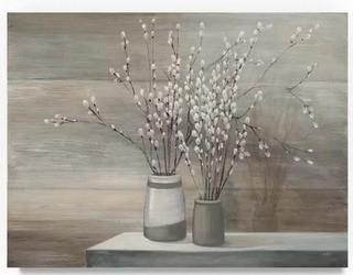 Pussy Willow Still Life Grey Pots' Acrylic Painting Print on Wrapped Canvas 35x47""
