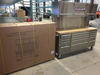 New 72 inch 15 Drawer Rolling Tool Chest w/ Peg Board and Upper Cabinets
