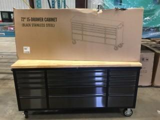 New 72 inch 15 Drawer Black Stainless Rolling Tool Cabinet