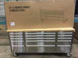 New 72 inch 15 Drawer Stainless Steel Rolling Tool Cabinet