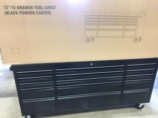New 72 inch Black Powder Coat 15 Drawer Rolling Tool Cabinet