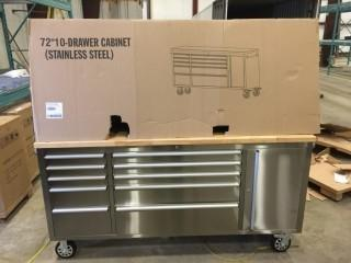 New 72 inch Stainless Steel 10 Drawer Rolling Tool Cabinet
