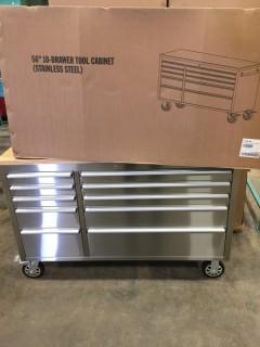 New 56 inch 10 Drawer Stainless Rolling Tool Cabinet