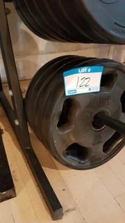 Qty of 4 - 25 lb bar bell weights
