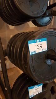 Qty of 6 - 5 kg bar bell weights