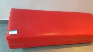 Red Faux Leather Bench
