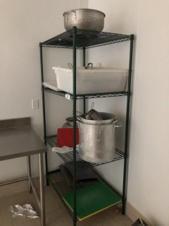 Cart Mounted Tray Holder W/ Trays, Misc Supplies.