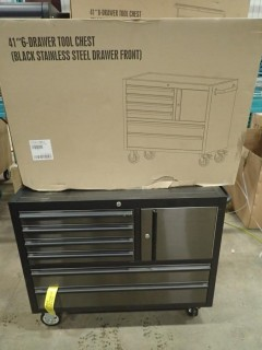 New 41 Inch 6 Drawer Black Stainless Steel Rolling Tool Chest